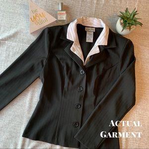 Black & White Blazer with Removable Collar Insert